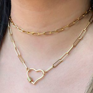 Jewelry - Gold CZ Pave Heart Carabiner on Paper Clip Chain